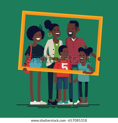 African family portrait. Vector flat character design on african american family holding large golden frame. African american parents with two preschool boy and girl kids and teenager girl