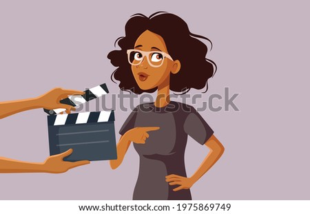 African Female Actor Filming on Set. Funny actress in class forgetting the line suffering from stage fright  Stock photo ©