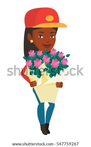african female delivery courier