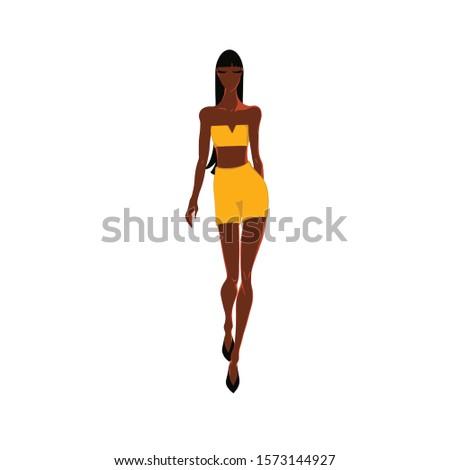 African female model walks a model gait