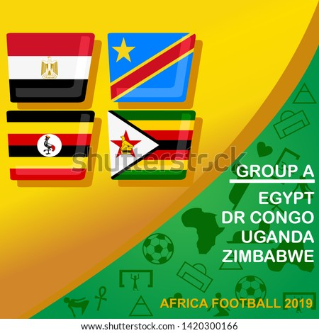 African football 2019 Group A. Egypt, DR Congo, Uganda, and Zimbabwe flag set.  Egypt pattern with modern and traditional elements, Vector illustration