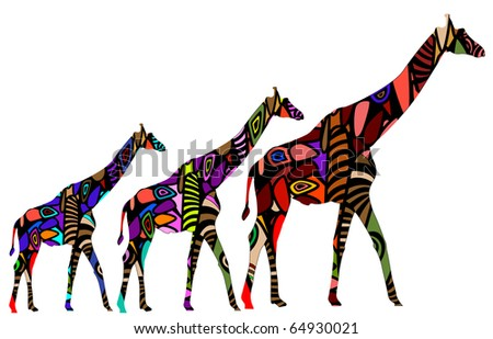 African giraffes in ethnic style consists of various elements
