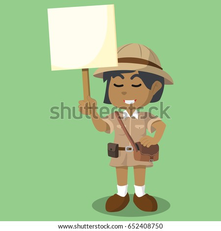 african girl explorer holding sign