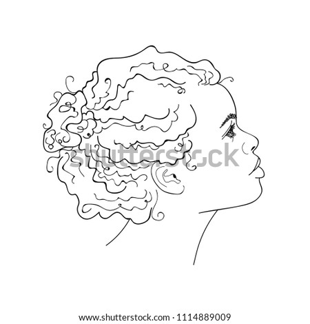 African girl linear graphic portrait