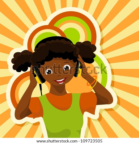 african girl with headphones listening to music - vector illustration