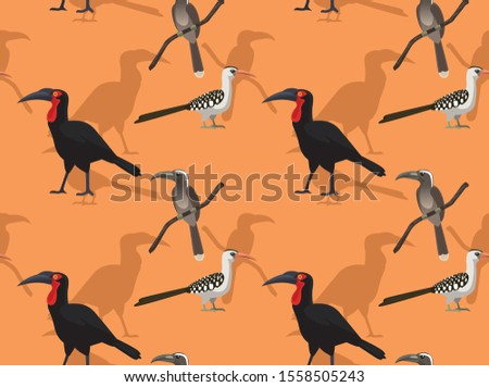 african ground hornbill cartoon