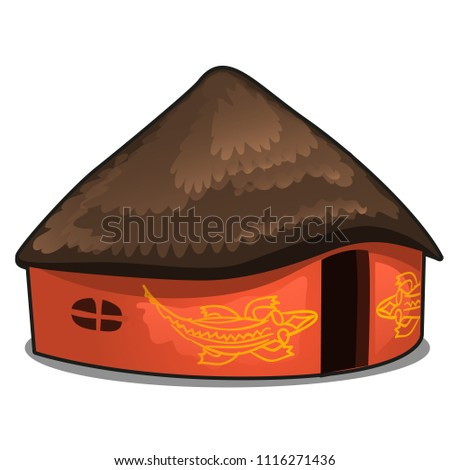 African house with a thatched roof isolated on white background. Vector cartoon close-up illustration.