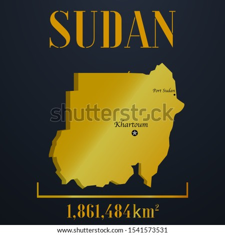 African, Islam Sudan golden 3d solid country outline silhouette, realistic piece of world map template, for infographic, vector illustration, isolated object, background. From countries set