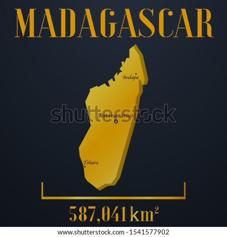 African Island Madagascar golden 3d solid country outline silhouette, realistic piece of world map template, for infographic, vector illustration, isolated object, background. From countries set