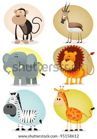 African Jungle Animals Collection/ Illustration of a set of cartoon animals from african savannah, including lion,  elephant,giraffe, gazelle, monkey and zebra