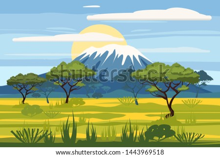 African landscape savannah wild nature. Grass, bushes, acacia trees and mountane. The nature of Africa. Reserves and national parks. Vector illustration isolated cartoon style ストックフォト ©