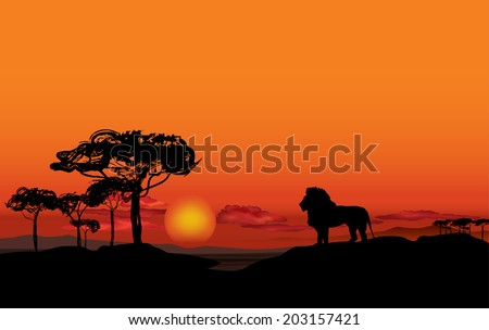 african landscape with animal
