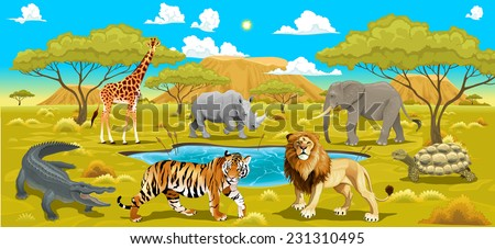african landscape with animals