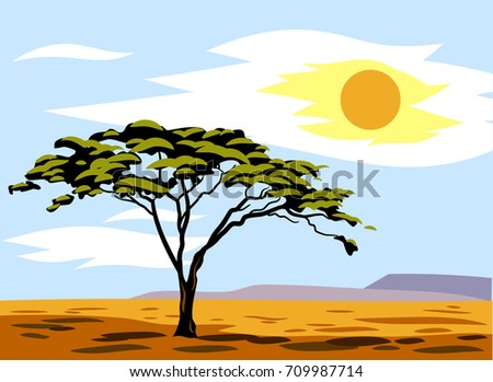 African landscape with plain and tree