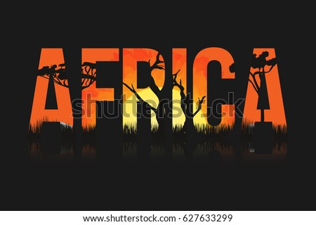African landscape with trees and sun. Lettering