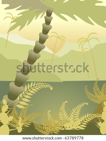African landscape with type on lake