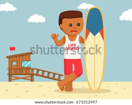 african lifeguard with surf