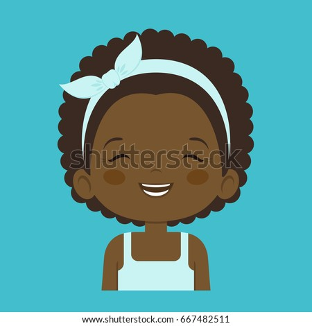 Stock Photo African little girl laughing facial expression, cartoon vector illustration isolated on blue background. Pretty little girl emoji laughing out load with closed eyes and open mouth.
