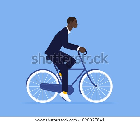African man in a business suit. An office worker is riding a bicycle to work. Manager. Vector Flat Illustration