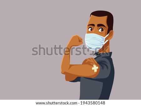 African Man Showing Vaccinated Arm. Vaccine distribution for general population concept illustration