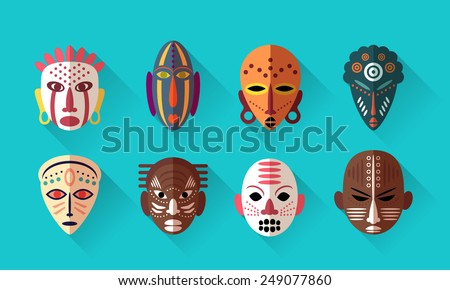 african mask icons flat design