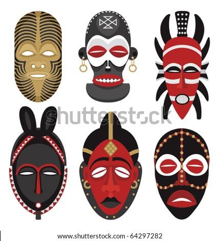 african masks for children. stock vector : African Masks