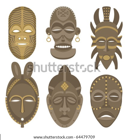 African Masks: Six African masks. No transparency and gradients used.