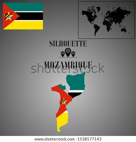 African Mozambique outline world map silhouette vector illustration, creative design background, national country flag, objects, element, symbols from countries all continents set.