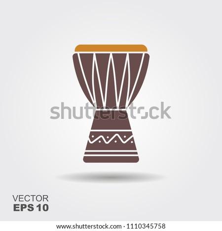African music instrument icon. Vector illustration. djembe, dunumba drum tam tam