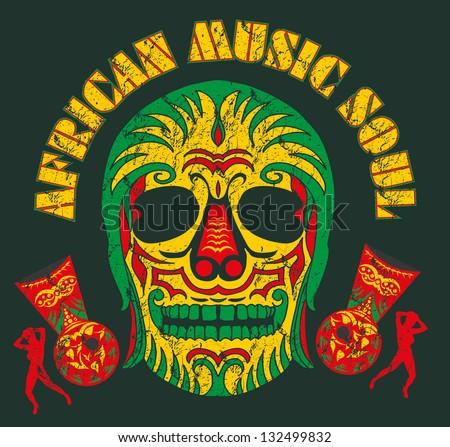 african music skull soul vector