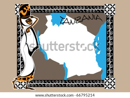 African on a map of Tanzania