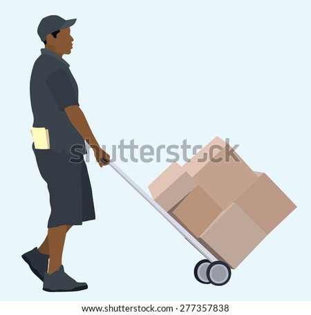 African or Black delivery man with hand truck