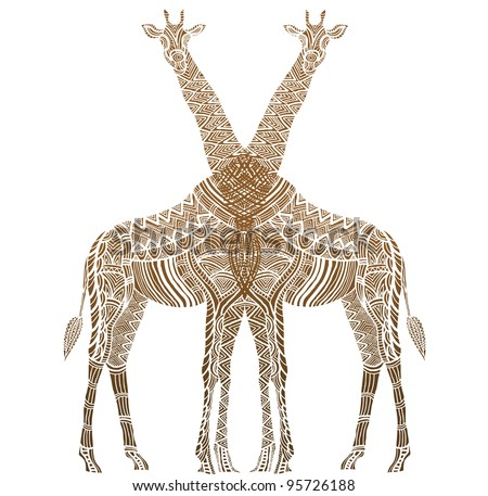 African patterned giraffe in the ethnic style of hand-painted