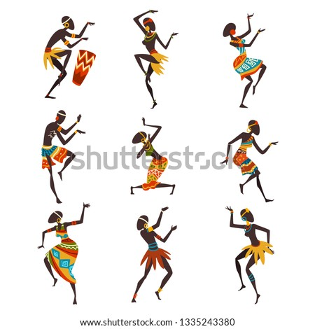 African People Dancing Folk or Ritual Dance Set, Aboriginal Dancers in Bright Traditional Ethnic Clothing Vector Illustration