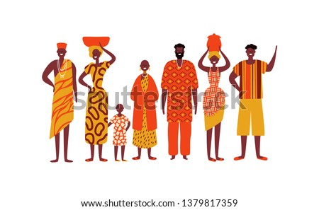 African people on isolated white background. Diverse black men and women group in traditional ethnic clothes for africa society concept.