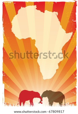 african poster with a map of africa and two elephants with entwined trunks