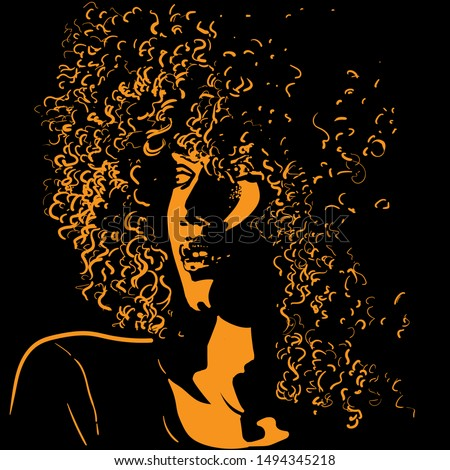 African pretty woman with afro hair style portrait silhouette in contrast backlight. Vector. Illustration.