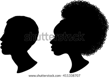 african profile silhouettes