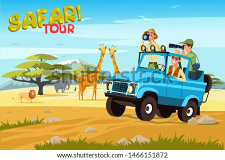 African safari flat vector banner concept. Tourists in jeep taking photos cartoon characters. Tropical tourism, exotic recreation poster. Wilderness, savannah exploration illustration with lettering