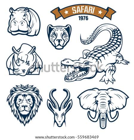 African safari hunt animals vector icons of lion, cheetah, antelope, crocodile, elephant, hippopotamus and rhino. Vector signs, badges and ribbon for savanna hunting sport