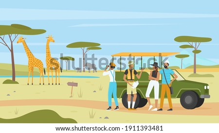 African safari nature tour vector illustration. Cartoon man woman tourist characters group with binoculars and car, landscape tourism in Africa, savannah exploration expedition adventure background Zdjęcia stock ©