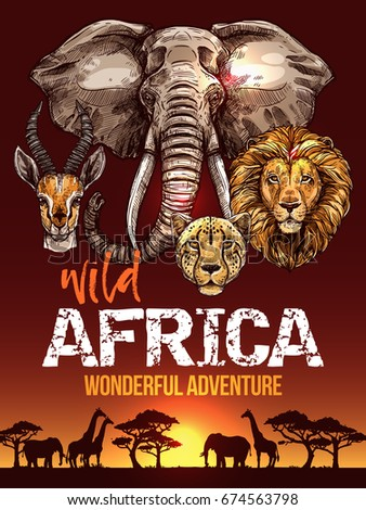 african safari poster with wild