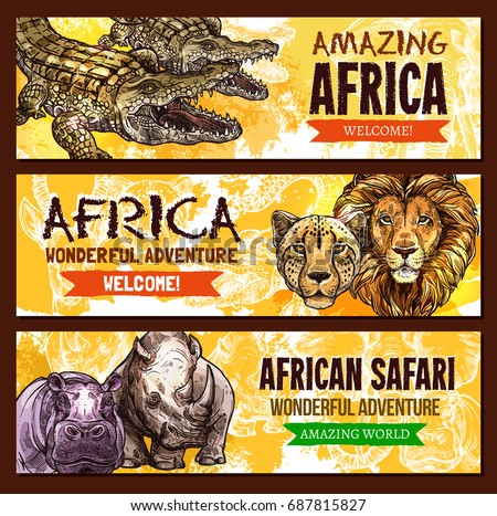 African Safari wild adventure entertainment poster. Vector design of Africa savanna wildlife world crocodile alligator, lion or cheetah panther, hippopotamus and rhinoceros for zoo welcome template