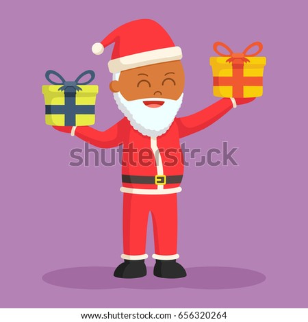 african santa claus holding two