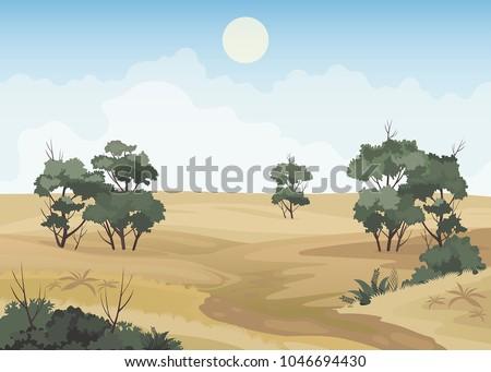 African savanna landscape, desert drought vector background.