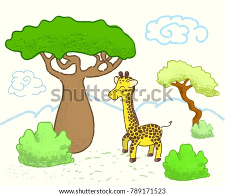 African savanna landscape with trees and giraffe