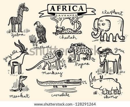african savannah animal set