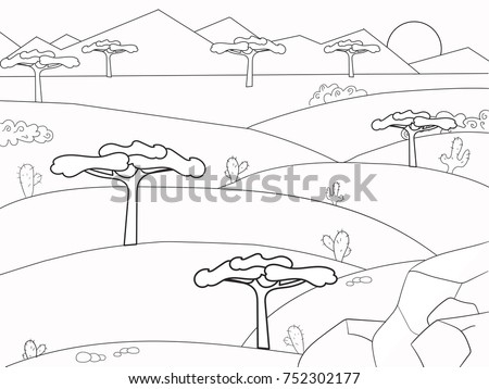 African savannah coloring book. Background nature. Desert vector pages