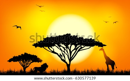 african savannah landscape with trees animals at sunset