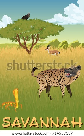 African savannah with hyenna, cobra and gazelle - vector illustration